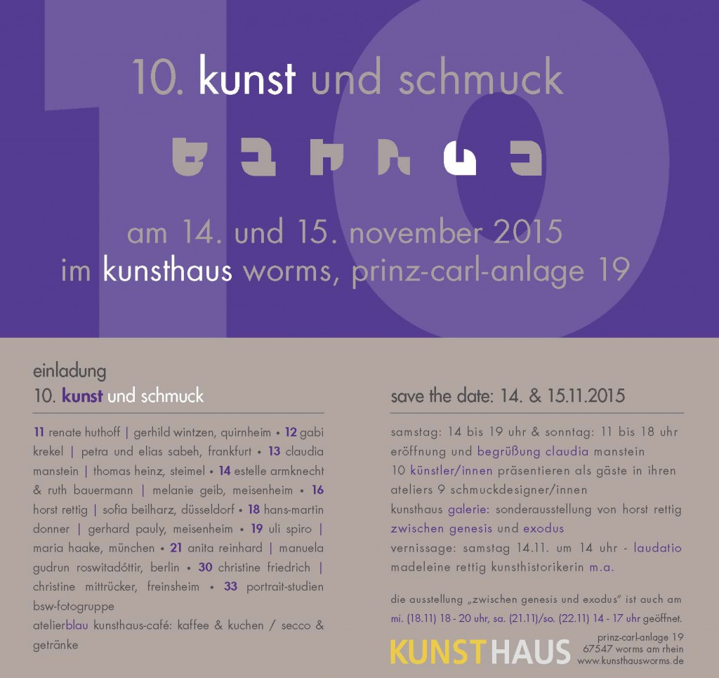 Einladung_10. Kunst&Schmuck_2015