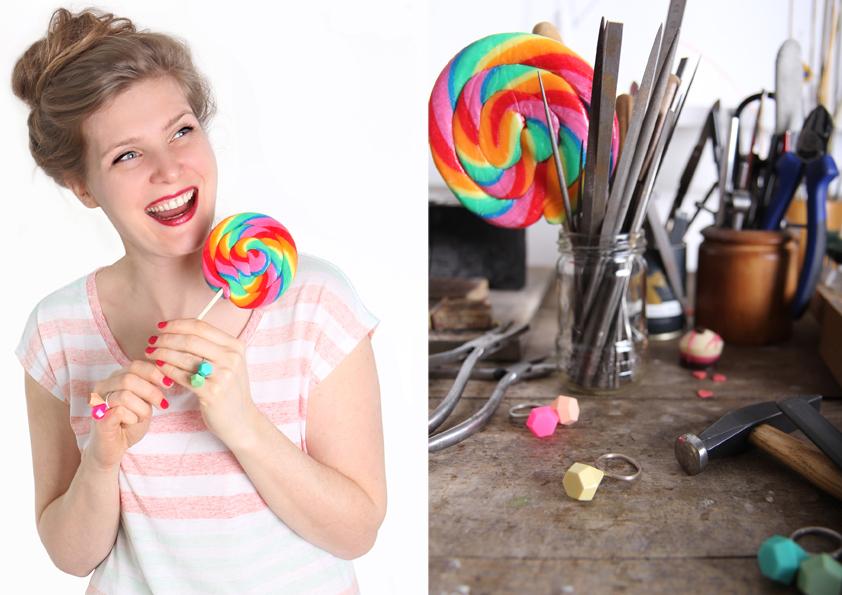 Postkarte sugar candy kisses